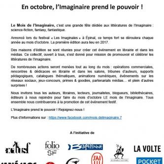 Plusieurs éditeurs français annoncent le premier mois de l'imaginaire pour octobre 2017